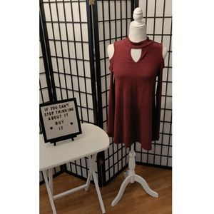 By & By Bordeaux Cold Shoulder Sweater